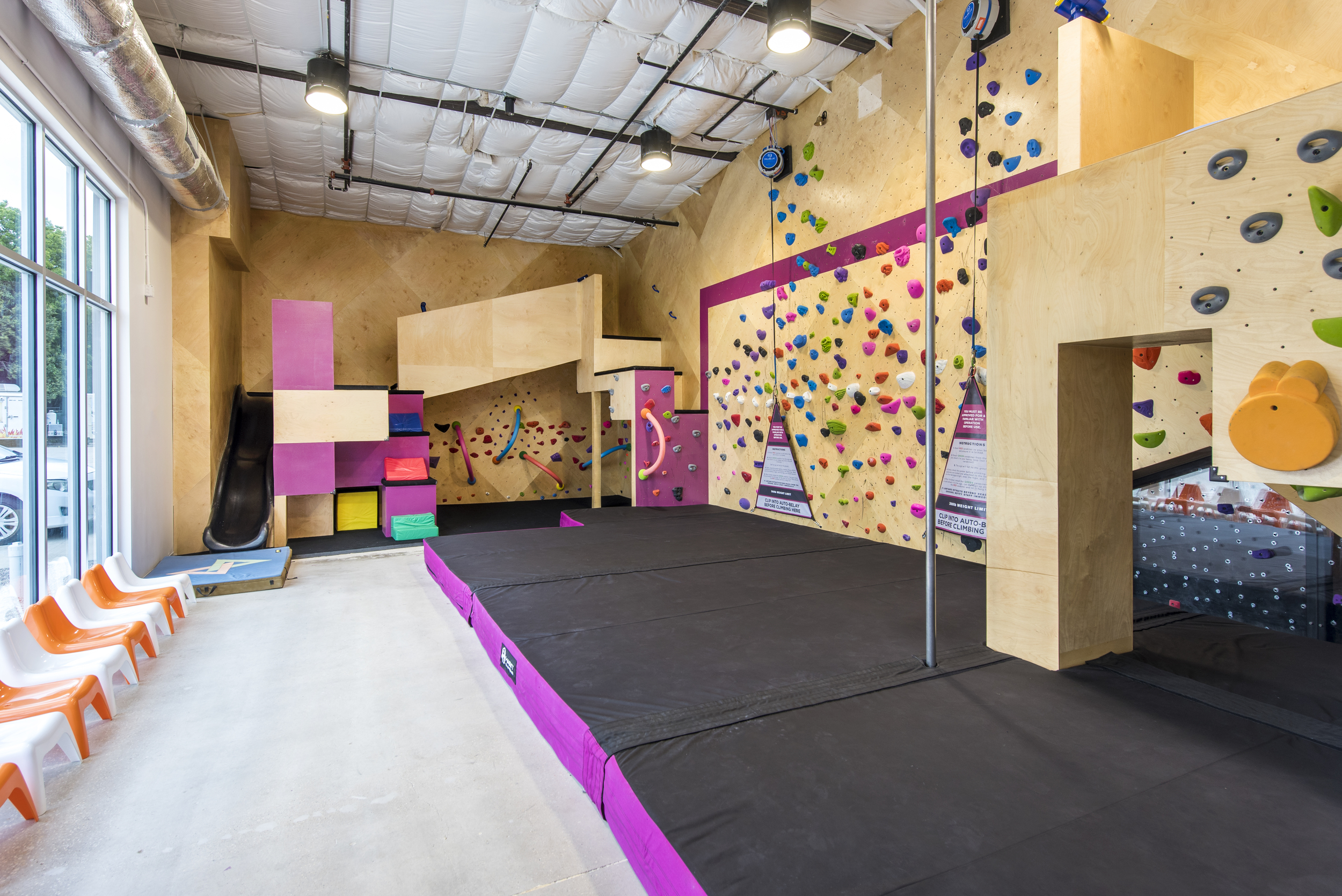 Designed for climbers 12 and under, the Panda-monium Room is a fantastic option for kids' birthdays and other events. Outfitted with a slide, fireman's pole, and of course a climbing wall, this room can keep even the most energetic, inquisitive kids entertained for hours on end. We have two auto-belays set-up in this room.