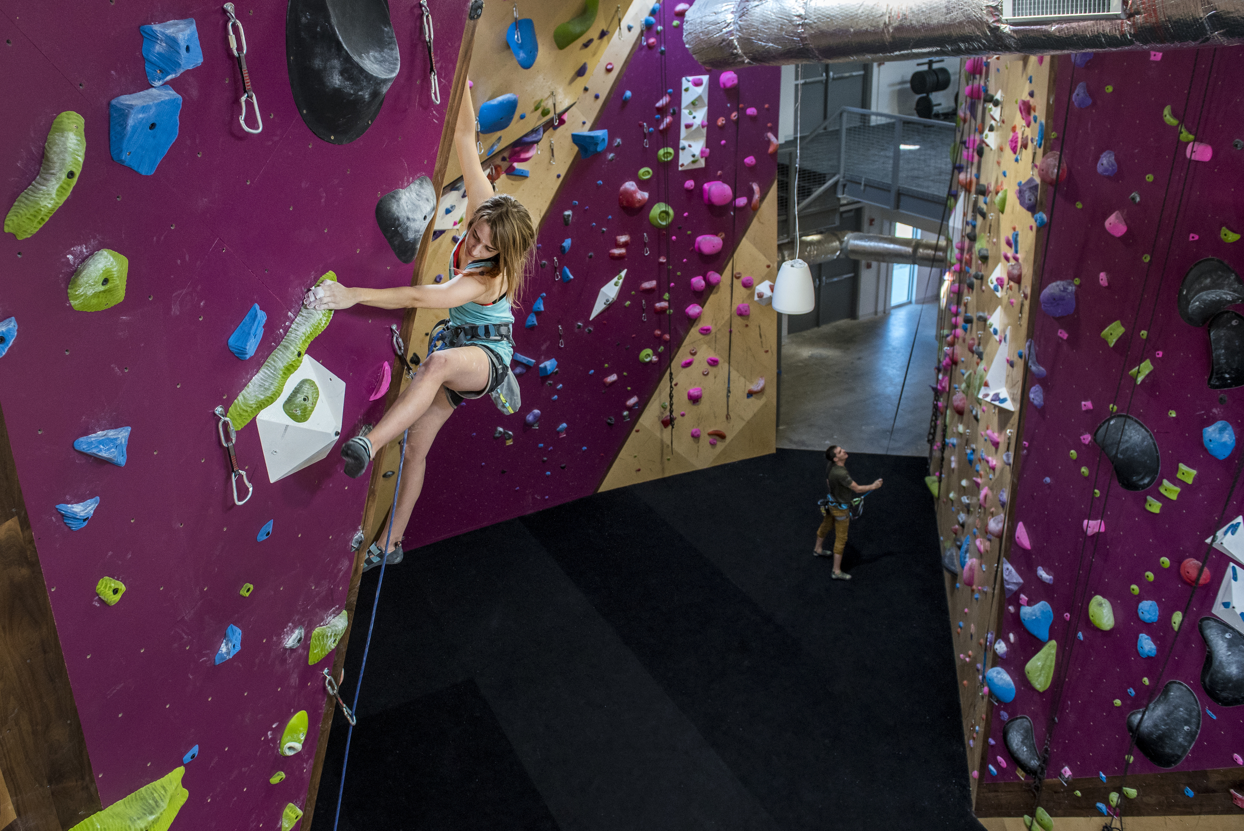 Our rope climbing area has walls 30 feet high. It features 27 anchors, 21 of which can be set for lead anchors. Eighteen of these can be set as top-rope or auto-belay anchors. We have 5-6 auto-belays set-up at a time.