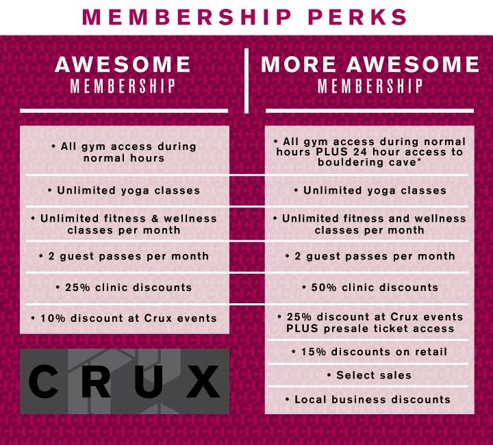 discounted rates crux climbing center